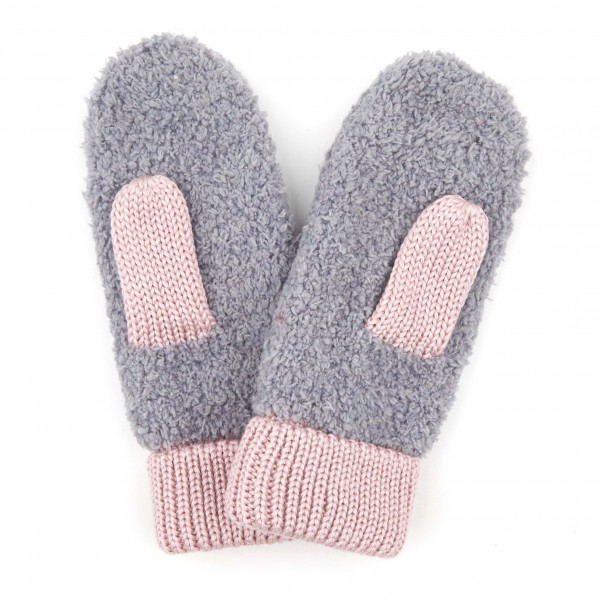 C.C MT-2069 Sherpa Yarn Knit Mittens Featuring Color Knit Trim.  - One size fits most  - 70% Polyester / 30% Acrylic