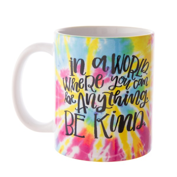 """""""In a World Where You Can Be Anything, Be Kind"""" Printed Tie-Dye Ceramic Coffee Mug.  - Printed on Both Sides - Dishwasher & Microwave Safe - Holds up to 12 Fl. oz"""