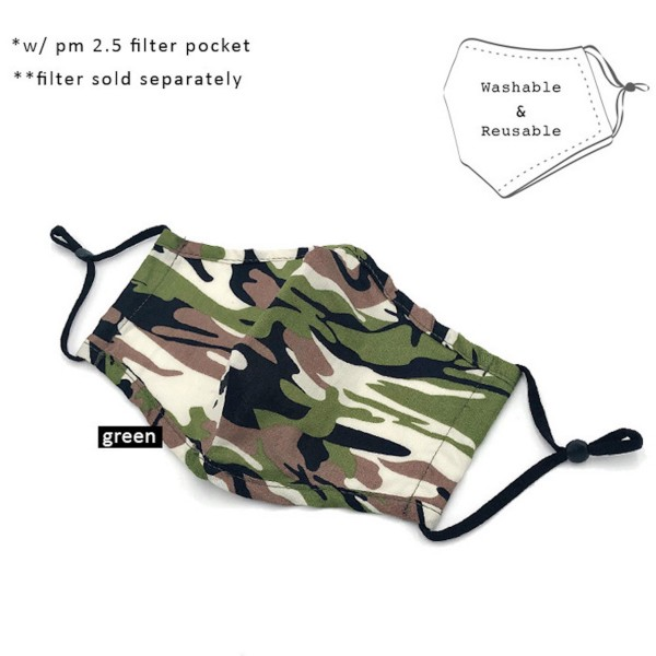 Do everything in Love Brand Adjustable Camouflage Fashion Mask with Filter Insert.  - Adjustable Ear Loops - Washable & Reusable  - Non-Medical - Filter Insert - Filter Sold Separately*** - Blocks against Sunlight / Dust / Etc - Wash After Each Use  - One size fits most Adults   *** ALL Sales Final Due to CDC Recommendations