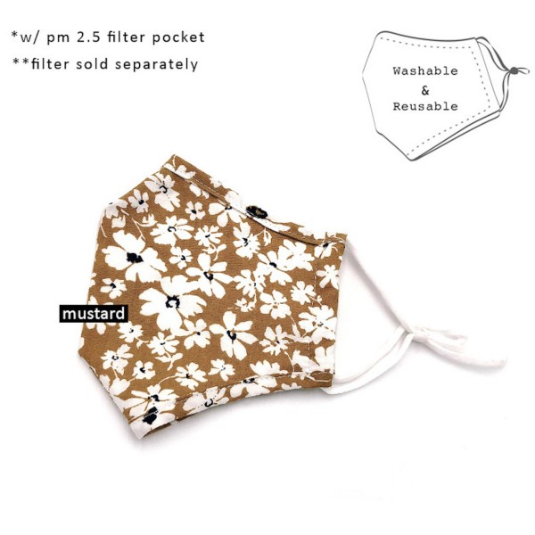 Do everything in Love Brand Adjustable Mustard Floral Print Fashion Mask with Filter Insert.  - Adjustable Ear Loops - Washable & Reusable  - Non-Medical - Filter Insert - Filter Sold Separately*** - Blocks against Sunlight / Dust / Etc - Wash After Each Use  - One size fits most Adults   *** ALL Sales Final Due to CDC Recommendations