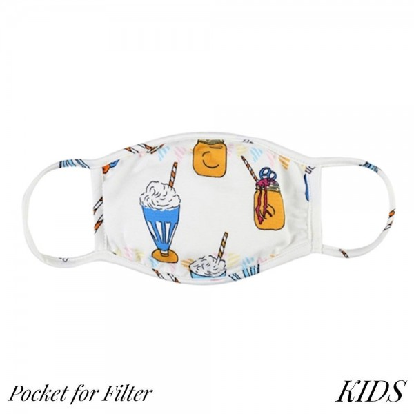 KIDS Reusable Fun Milkshake Print T-Shirt Cloth Face Mask with Filter Insert.  - Machine Wash in Cold - Mild Detergent - Lay Flat to Dry - Do Not Bleach - Reusable Face Mask - These Mask Have NO Filter - Insert for Filter - One Size Fits Most KIDS (AGES 5-11) - Exterior Material: 95% Polyester / 5% Spandex - Interior Material: Cotton Blend in Ivory or White  ** These Mask Are Not For Professional Use and Not Medically Rated. These Mask Has No Proven Effectiveness Against Any Viruses. *** ALL Sales Final Due to CDC Recommendations