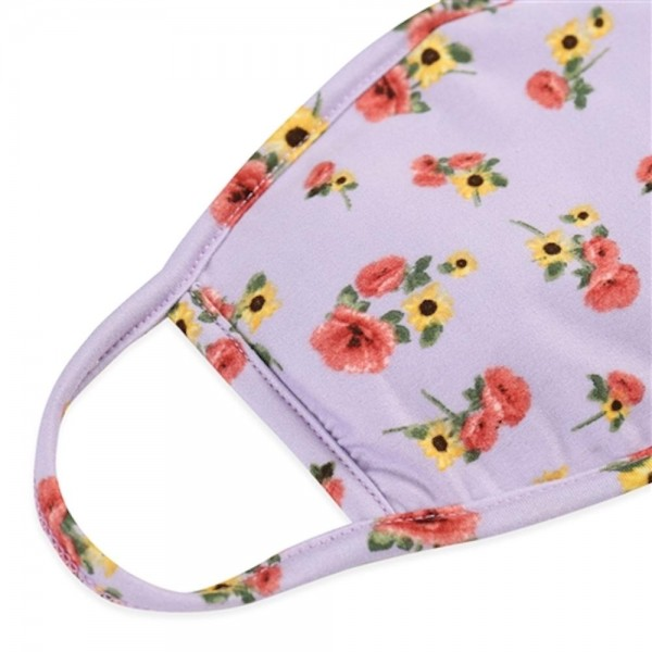 Adults Reusable Floral Print T-Shirt Cloth Face Mask with Filter Insert.  - Machine Wash in Cold - Mild Detergent - Lay Flat to Dry - Do Not Bleach - Reusable Face Mask - These Mask Have NO Filter - Insert for Filter - One Size Fits Most Adults - Exterior Material: 95% Polyester / 5% Spandex - Interior Material: Cotton Blend in Ivory or White  ** These Mask Are Not For Professional Use and Not Medically Rated. These Mask Has No Proven Effectiveness Against Any Viruses. *** ALL Sales Final Due to CDC Recommendations