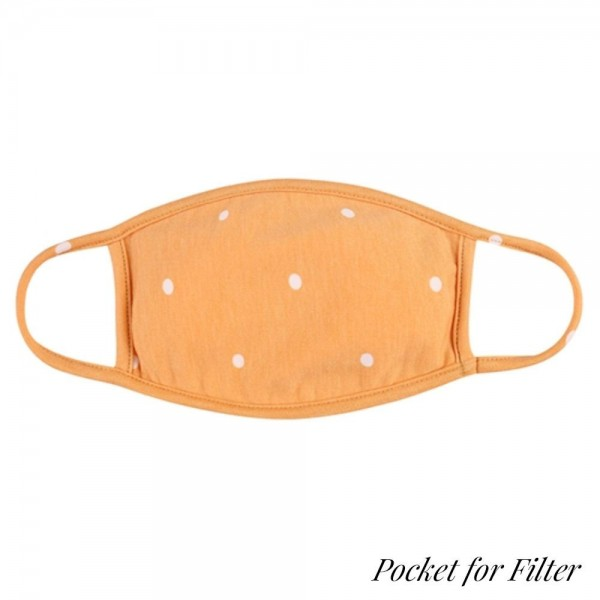 Adults Reusable Polka Dot T-Shirt Cloth Face Mask with Filter Insert.  - Machine Wash in Cold - Mild Detergent - Lay Flat to Dry - Do Not Bleach - Reusable Face Mask - These Mask Have NO Filter - Insert for Filter - One Size Fits Most Adults - Exterior Material: 95% Polyester / 5% Spandex - Interior Material: Cotton Blend in Ivory or White  ** These Mask Are Not For Professional Use and Not Medically Rated. These Mask Has No Proven Effectiveness Against Any Viruses. *** ALL Sales Final Due to CDC Recommendations