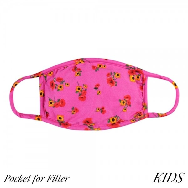 KIDS Reusable Floral Print T-Shirt Cloth Face Mask with Filter Insert.  - Machine Wash in Cold  - Mild Detergent - Lay Flat to Dry - Do Not Bleach - Reusable Face Mask - These Mask Have NO Filter - Insert for Filter - One Size Fits Most KIDS (AGES 5-11) - Exterior Material: 95% Polyester / 5% Spandex - Interior Material: Cotton Blend in Ivory or White  ** These Mask Are Not For Professional Use and Not Medically Rated. These Mask Has No Proven Effectiveness Against Any Viruses. *** ALL Sales Final Due to CDC Recommendations