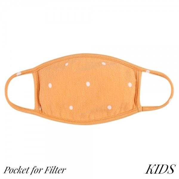 KIDS Reusable Polka Dot T-Shirt Cloth Face Mask with Filter Insert.  - Machine Wash in Cold - Mild Detergent - Lay Flat to Dry - Do Not Bleach - Reusable Face Mask - These Mask Have NO Filter - Insert for Filter - One Size Fits Most KIDS (AGES 5-11) - Exterior Material: 95% Polyester / 5% Spandex - Interior Material: Cotton Blend in Ivory or White  ** These Mask Are Not For Professional Use and Not Medically Rated. These Mask Has No Proven Effectiveness Against Any Viruses. *** ALL Sales Final Due to CDC Recommendations