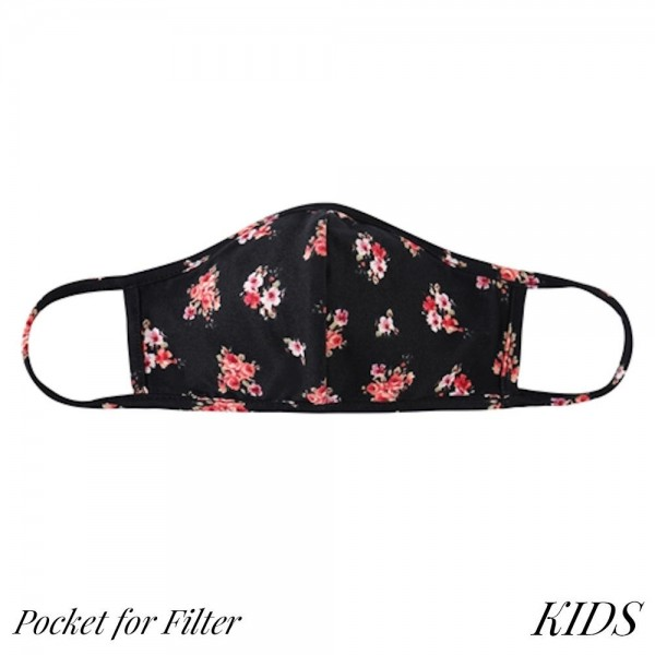 KIDS Reusable Floral Print T-Shirt Cloth Face Mask with Seam & Filter Insert.  - Machine Wash in Cold - Mild Detergent - Lay Flat to Dry - Do Not Bleach - Reusable Face Mask - These Mask have NO Filter - Insert for Filter - One Size Fits Most KIDS (AGES 5-11) - Exterior Material: 95% Polyester / 5% Spandex - Interior Material: Cotton Blend in Ivory or White  ** These Masks Are Not For Professional Use and Not Medically Rated. These Masks Have No Proven Effectiveness Against Any Viruses. *** ALL Sales Final Due to CDC Recommendations