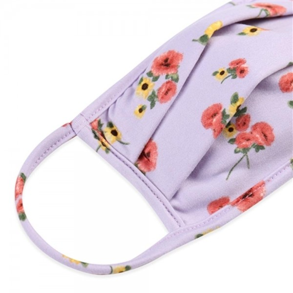 Adults Reusable Floral Print Pleated T-Shirt Cloth Face Mask.  - Machine Wash in Cold - Mild Detergent - Lay Flat to Dry - Do Not Bleach - Reusable Face Mask - These Mask have NO Filter - One Size Fits Most Adults - Exterior Material: 95% Polyester / 5% Spandex - Interior Material: Cotton Blend in Ivory or White  These Masks Are Not For Professional Use and Not Medically Rated. These Masks Have No Proven Effectiveness Against Any Viruses.