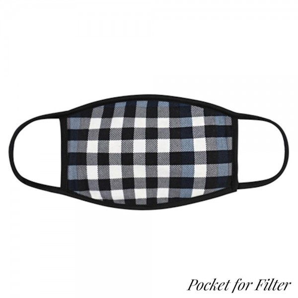 Adults Reusable Plaid T-Shirt Cloth Face Mask with Filter Insert.  - Machine Wash in Cold - Mild Detergent - Lay Flat to Dry - Do Not Bleach - Reusable Face Mask - These Mask Have NO Filter - Insert for Filter - One Size Fits Most Adults - Exterior Material: 95% Polyester / 5% Spandex - Interior Material: Cotton Blend in Ivory or White  ** These Mask Are Not For Professional Use and Not Medically Rated. These Mask Has No Proven Effectiveness Against Any Viruses. *** ALL Sales Final Due to CDC Recommendations