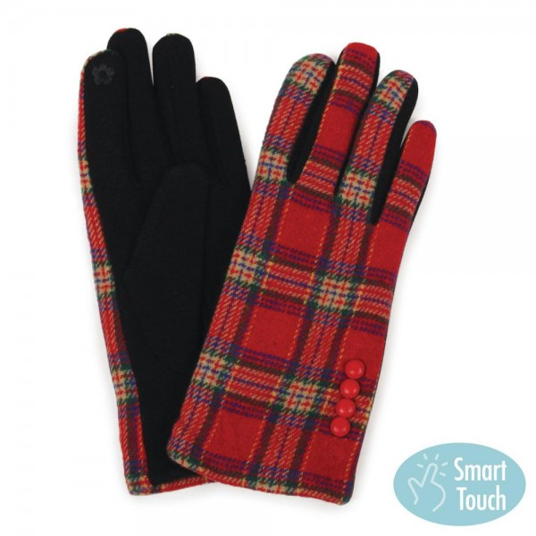 Tartan Plaid Smart Touch Gloves.  - Touchscreen Compatible - One size fits most  - 100% Polyester