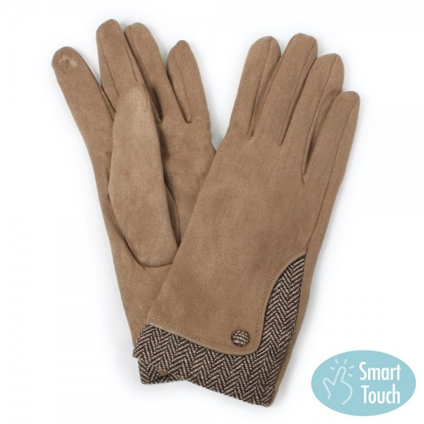 Faux Suede Herringbone Button Smart Touch Gloves.  - Touchscreen Compatible - One size fits most Adults  - 100% Polyester