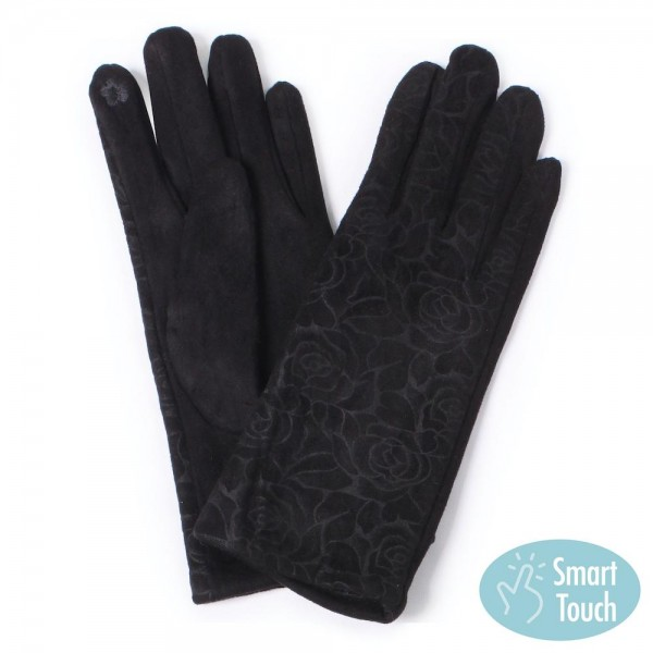 Faux Suede Rose Print Smart Touch Gloves.  - Smart Touch Finger Use  - One size fits most Adults  - 100% Polyester