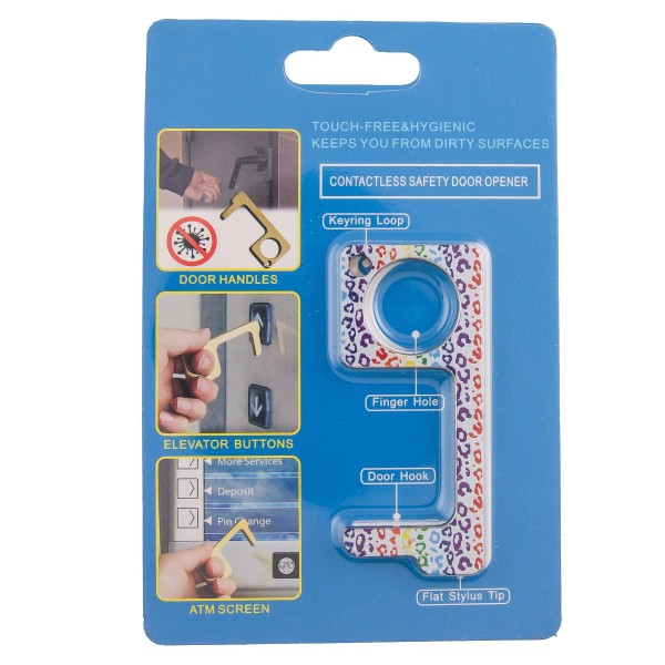 Keep Your Hands Safe with This Multicolor Leopard Print Fashion Design Contactless Safety Door Opener.  - Touch Free & Hygienic  - Keeps You From Touching Dirty Surfaces - Can Be Used For ATM Screens, Pin Pads, Door Handles Etc. - Features Keyring Loop, Finger Hole, Door Hook & Flat Tip  - Approximately 2.75""
