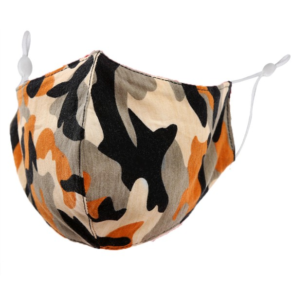 Non-Medical Camouflage Fashion Face Mask with Seam & Adjustable Ear Loop.  - Wash Before Use - Reusable / Washable / Latex Free - Eco-Friendly - Protects from Dust / Fog / Spray / Pollen - Adjustable Earloop - One size fits most Adults - Cotton & Elastic  *** ALL Sales Final Due to CDC Recommendations