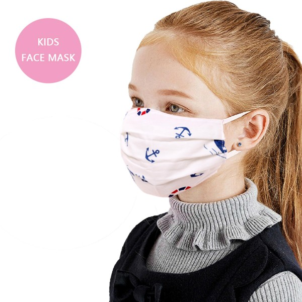 Non-Medical KIDS Nautical Print Fashion Face Mask with Seam & Adjustable Ear Loop.  - Wash Before Use - Reusable / Washable / Latex Free - Eco-Friendly - Protects from Dust / Fog / Spray / Pollen - Adjustable Earloop - One size fits most KIDS (AGES 5-11) - Cotton & Elastic  *** ALL Sales Final Due to CDC Recommendations