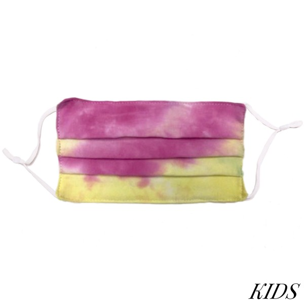 Non-Medical KIDS Tie-Dye Pleated Fashion Face Mask with Adjustable Ear Loop.  - Wash Before Use - Reusable / Washable / Latex Free - Eco-Friendly - Protects from Dust / Fog / Spray / Pollen - Adjustable Earloop - One size fits most KIDS (AGES 5-11) - Cotton & Elastic