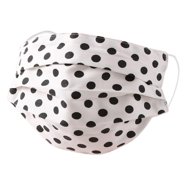 Non-Medical Polka Dot Pleated Fashion Face Mask with Ear Loop.  - Wash Before Use - Reusable / Washable / Latex Free - Eco-Friendly - Protects from Dust / Fog / Spray / Pollen - One size fits most Adults - Cotton & Elastic  *** ALL Sales Final Due to CDC Recommendations