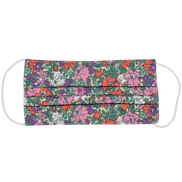 Non-Medical Floral Pleated Fashion Face Mask with Ear Loop.  - Wash Before Use - Reusable / Washable / Latex Free - Eco-Friendly - Protects from Dust / Fog / Spray / Pollen - One size fits most Adults - Cotton & Elastic  *** ALL Sales Final Due to CDC Recommendations