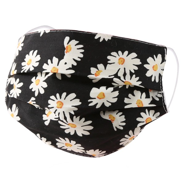 Non-Medical Daisy Pleated Fashion Face Mask with Ear Loop.  - Wash Before Use - Reusable / Washable / Latex Free - Eco-Friendly - Protects from Dust / Fog / Spray / Pollen - One size fits most Adults - Cotton & Elastic  *** ALL Sales Final Due to CDC Recommendations