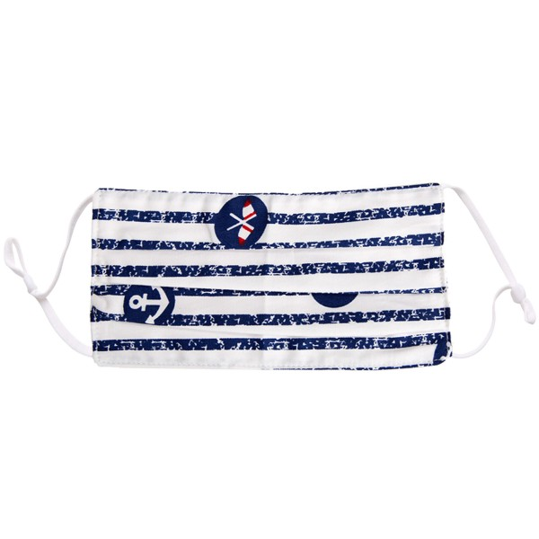 Non-Medical Striped Nautical Pleated Fashion Face Mask with Adjustable Ear Loop.  - Wash Before Use - Reusable / Washable / Latex Free - Eco-Friendly - Protects from Dust / Fog / Spray / Pollen - One size fits most Adults - Cotton & Elastic  *** ALL Sales Final Due to CDC Recommendations