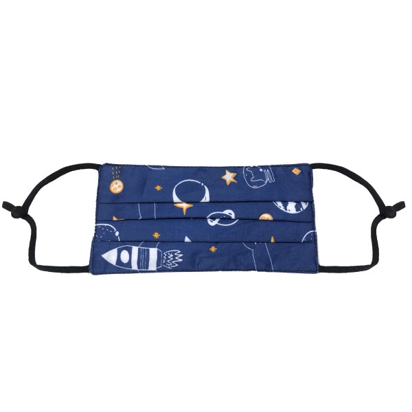 Non-Medical Outer Space Pleated Fashion Face Mask Featuring Adjustable Ear Loops.  - Wash Before Use - Reusable / Washable / Latex Free - Eco-Friendly - These Mask Have No Filter  - Protects from Dust / Fog / Spray / Pollen - One size fits most Adults - Cotton & Elastic  *** ALL Sales Final Due to CDC Recommendations