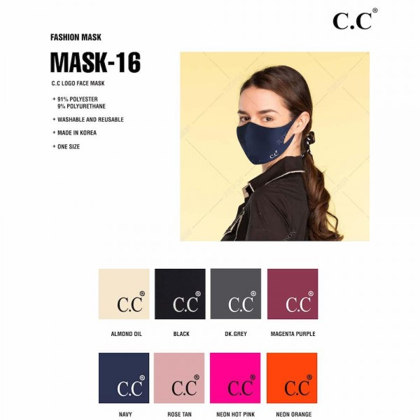 C.C MASK-16 Solid Stretchable Design Face Mask with Seam.  - Non-Medical - UV Protection - Hygroscopic / Less Irritating  - Washable / Reusable / Quick Dry - Lightweight / Stretchable / Breathable - These Mask Do Not Have Filters - One size fits most  - 91% Polyester / 9% Polyurethane  *** ALL Sales Final Due to CDC Recommendations