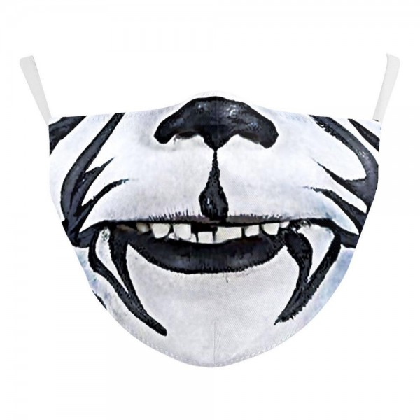 Non-Medical White Tiger Face Fashion Face Mask Featuring Adjustable Ear Loops & Filter Insert.  - Wash Before Use - Reusable / Washable / Latex Free - Double Layered Fabric - Eco-Friendly - Filter Insert (Filter Not Included) - Protects from Dust / Fog / Spray / Pollen - Adjustable Ear Loop - One size fits most Adults - Cotton & Elastic  ** Filter sold separately *** ALL Sales Final Due to CDC Recommendations