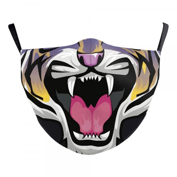 Non-Medical Tiger Fashion Face Mask Featuring Adjustable Ear Loops & Filter Insert.  - Wash Before Use - Reusable / Washable / Latex Free - Double Layered Fabric - Eco-Friendly - Filter Insert (Filter Not Included) - Protects from Dust / Fog / Spray / Pollen - Adjustable Ear Loop - One size fits most Adults - Cotton & Elastic  ** Filter sold separately.
