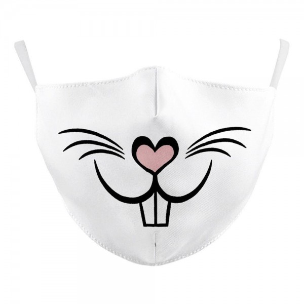 Non-Medical White Heart Nose Bunny Fashion Face Mask Featuring Adjustable Ear Loops & Filter Insert.  - Wash Before Use - Reusable / Washable / Latex Free - Double Layered Fabric - Eco-Friendly - Filter Insert (Filter Not Included) - Protects from Dust / Fog / Spray / Pollen - Adjustable Ear Loop - One size fits most Adults - Cotton & Elastic  ** Filter sold separately *** ALL Sales Final Due to CDC Recommendations