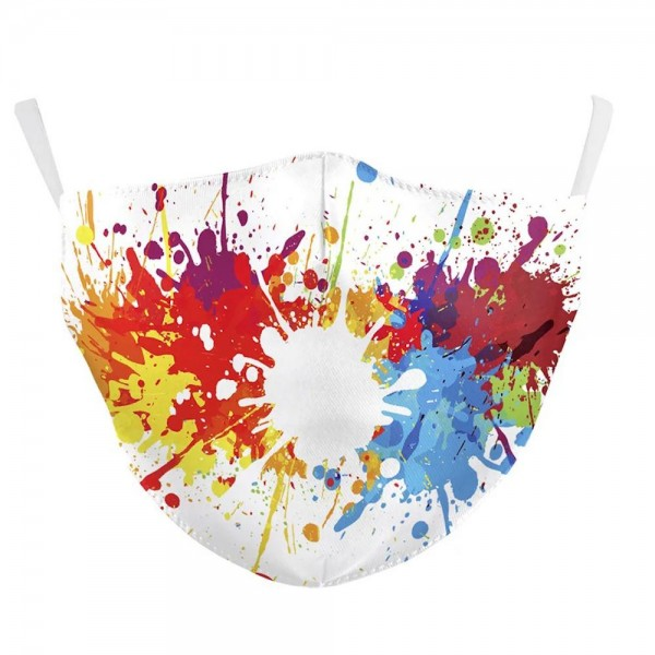 Non-Medical Paint Splatter Fashion Face Mask Featuring Adjustable Ear Loops & Filter Insert.  - Wash Before Use - Reusable / Washable / Latex Free - Double Layered Fabric - Eco-Friendly - Filter Insert (Filter Not Included) - Protects from Dust / Fog / Spray / Pollen - Adjustable Ear Loop - One size fits most Adults - Cotton & Elastic  ** Filter sold separately *** ALL Sales Final Due to CDC Recommendations