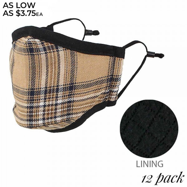 Non-Medical Reusable Plaid Face Mask with Adjustable Ear Loops. (Pack of 12)  - Non-Surgical  - Wash Before Use  - Adjustable Nose Wire - Adjustable Ear Loops - 12 Mask Per Pack - Each Mask Individually Wrapped - 66.8% Cotton / 28.2% Viscose / 5% Polyester  *** ALL Sales Final Due to CDC Recommendations