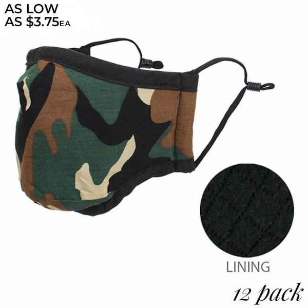 Wholesale non Medical Reusable Camouflage Mask Adjustable Ear Loops Pack Non Sur