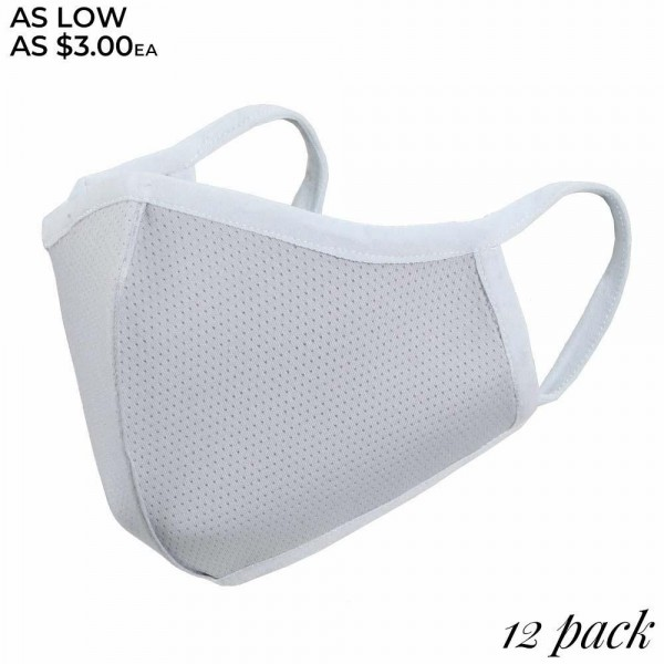 Non-Medical Reusable Solid Color Face Mask with Adjustable Ear Loops. (Pack of 12)  - Non-Surgical  - Wash Before Use  - Adjustable Nose Wire - Adjustable Ear Loops - 12 Mask Per Pack - Each Mask Individually Wrapped - 66.8% Cotton / 28.2% Viscose / 5% Polyester