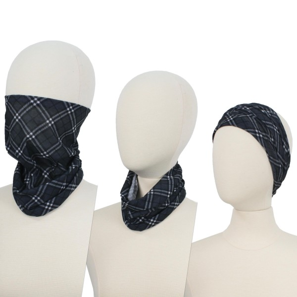 Grey Plaid Seamless Tubular Bandana Face Mask. (Pack of 12)  - Seamless - Tubular Style - Easy Pull Up & Down - Washable & Reusable  - Lightweight & Breathable - Helps Protect agains Dust, Wind, Sunlight Etc. - Covers Neck  - Multifunctional Wear - These Mask Are Non-Medical - No Filter  - Pack Breakdown: 12 Mask Per Pack  - Each Mask Are Individually Wrapped - One size fits most - 100% Polyester Microfibre   *** ALL Sales Final Due to CDC Recommendations