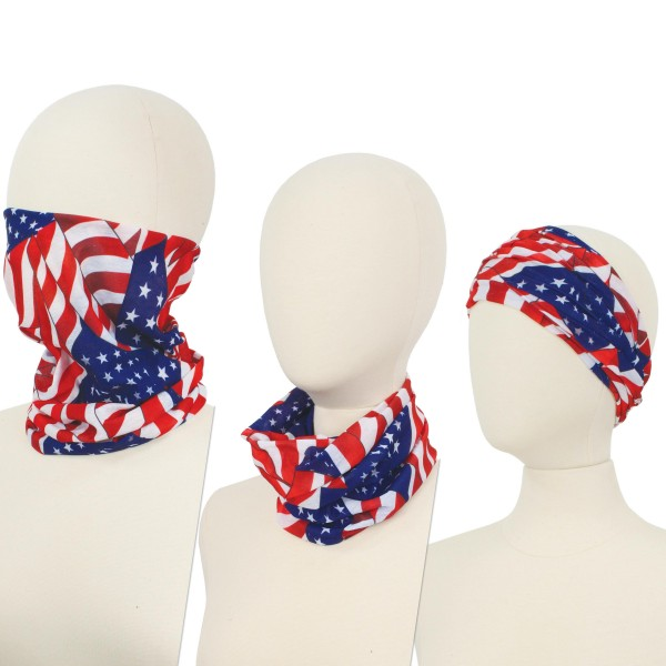 USA Seamless Tubular Bandana Face Mask. (12 PACK)  - Seamless - Tubular Style - Easy Pull Up & Down - Washable & Reusable - Lightweight & Breathable - Helps Protect agains Dust, Wind, Sunlight Etc. - Covers Neck - Multifunctional Wear - These Mask Are Non-Medical - No Filter - Pack Breakdown: 12 Mask Per Pack - Each Mask Are Individually Wrapped - One size fits most - 100% Polyester Microfibre