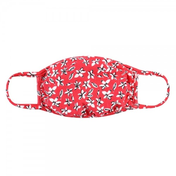 Adults Reusable Floral Print T-Shirt Cloth Face Mask.  - Machine Wash in Cold - Mild Detergent - Lay Flat to Dry - Do Not Bleach - Washable & Reusable Face Mask - These Mask Have NO Filter - One Size Fits Most Adults  - Double Layered Fabric - Exterior Material: 95% Polyester / 5% Spandex - Interior Material: Cotton Blend in Ivory or White  ** These Masks Are Not For Professional Use and Not Medically Rated. These Masks Have No Proven Effectiveness Against Any Viruses. *** ALL Sales Final Due to CDC Recommendations