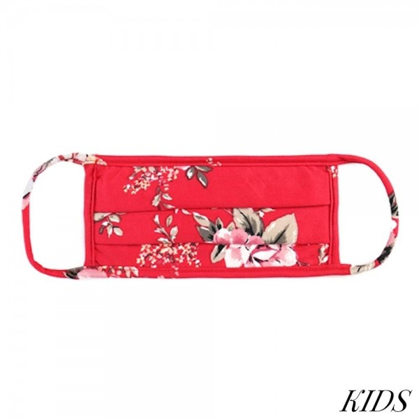 KIDS Reusable Floral Print Pleated T-Shirt Cloth Face Mask.  - Machine Wash in Cold - Mild Detergent - Lay Flat to Dry - Do Not Bleach - Washable & Reusable Face Mask - These Mask have NO Filter - One Size Fits Most Kids (Ages 5-11) - Exterior Material: 95% Polyester / 5% Spandex - Interior Material: Cotton Blend in Ivory or White  ** These Masks Are Not For Professional Use and Not Medically Rated. These Masks Have No Proven Effectiveness Against Any Viruses. *** ALL Sales Final Due to CDC Recommendations