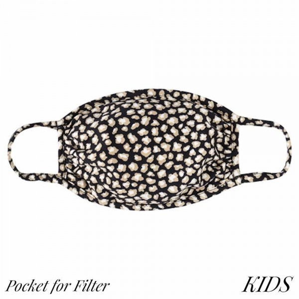 KIDS Reusable Tiny Leopard Print T-Shirt Cloth Face Mask with Filter Insert.  - Machine Wash in Cold - Mild Detergent - Lay Flat to Dry - Do Not Bleach - Washable & Reusable Face Mask - Insert for Filter (Filter Not Included) - One Size Fits Most KIDS (Ages 5-11) - Exterior Material: 95% Polyester / 5% Spandex - Interior Material: Cotton Blend in Ivory or White  ** Filter Sold Separately. ** These Mask Are Not For Professional Use and Not Medically Rated. These Mask Has No Proven Effectiveness Against Any Viruses. *** ALL Sales Final Due to CDC Recommendations