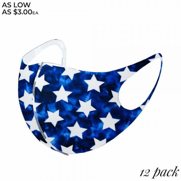 Non-Medical Blue Tie-Dye Star Stretchable Fashion Design Face Mask. (Pack of 12)   - Non-Medical Fashion Face Mask - These Mask Have No Filter - Blocks Sunlight, Dust Particles, and/or Wind - Washable and Reusable - Wash After Each Use - Does Not Protect Against Toxic Gases  - Pack Breakdown: 12 Mask Per Pack  - Each Mask Are Individually Wrapped - One size fits most Adults - 100% Polyester  *** ALL Sales Final Due to CDC Recommendations