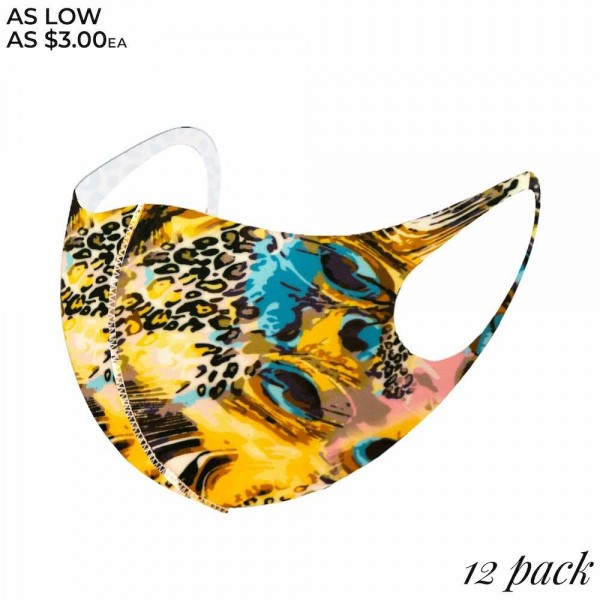 Non-Medical Peacock Leopard Print Stretchable Fashion Design Face Mask. (Pack of 12)   - Non-Medical Fashion Face Mask - These Mask Have No Filter - Blocks Sunlight, Dust Particles, and/or Wind - Washable and Reusable - Wash After Each Use - Does Not Protect Against Toxic Gases  - Pack Breakdown: 12 Mask Per Pack - Each Mask Are Individually Wrapped - One size fits most Adults - 100% Polyester  *** ALL Sales Final Due to CDC Recommendations