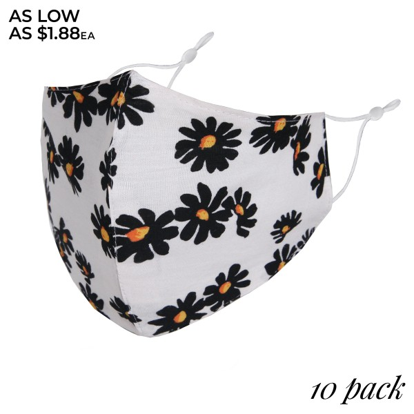 Non-Medical Daisy Fashion Face Mask with Seam & Adjustable Ear Loops. (10 Pack)  - Wash Before Use - Reusable / Washable / Latex Free - Eco-Friendly - Protects from Dust / Fog / Spray / Pollen - Double Layered Fabric - Adjustable Ear Loops - Pack Breakdown: 10 Mask Per Pack - Each Mask Are Individually Wrapped - One size fits most Adults - Cotton & Elastic