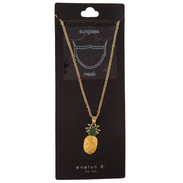 "Do everything in Love Brand Gold Tone Pineapple Charm Sunglasses Chain Holder / Mask Holder.  - Holds Sunglasses or Mask Around Neck - Approximately 30"" L  - Pineapple 1"""