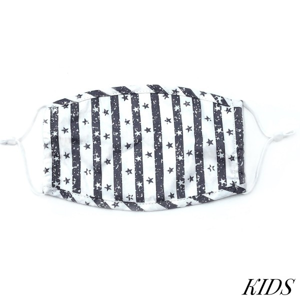 Do everything in Love Brand KIDS Adjustable Stripe Star Fashion Face Mask.  - Non-Medical - Adjustable Ear Loops - Washable & Reusable - Wash After Each Use - Double Layer Fabric - NO Filter  - Blocks against Sunlight / Dust / Etc - One size fits most Kids (5-11)  *** ALL Sales Final Due to CDC Recommendations