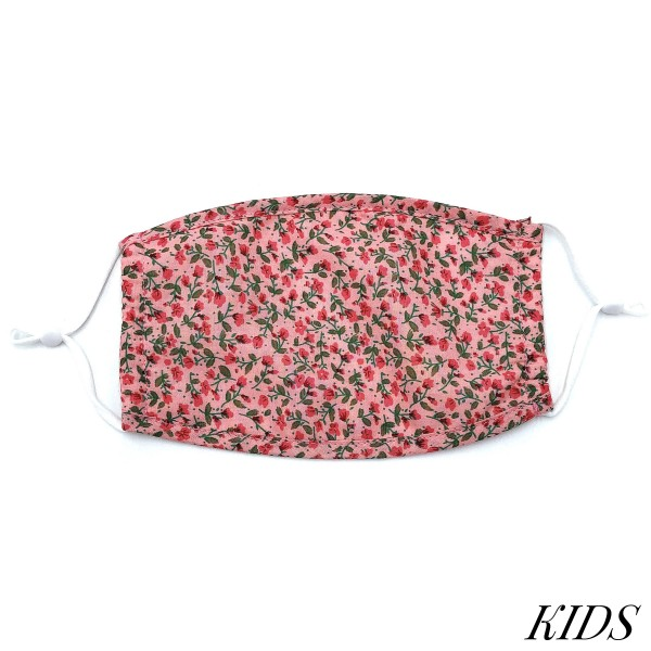 Do everything in Love Brand KIDS Adjustable Floral Print Fashion Face Mask.  - Non-Medical - Adjustable Ear Loops - Washable & Reusable - Wash After Each Use - Double Layer Fabric - NO Filter  - Blocks against Sunlight / Dust / Etc - One size fits most Kids (5-11)  *** ALL Sales Final Due to CDC Recommendations