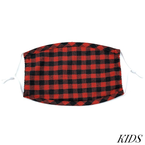 Do everything in Love Brand KIDS Adjustable Buffalo Check Fashion Face Mask.  - Non-Medical - Adjustable Ear Loops - Washable & Reusable - Wash After Each Use - Double Layer Fabric - NO Filter  - Blocks against Sunlight / Dust / Etc - One size fits most Kids (5-11)  *** ALL Sales Final Due to CDC Recommendations
