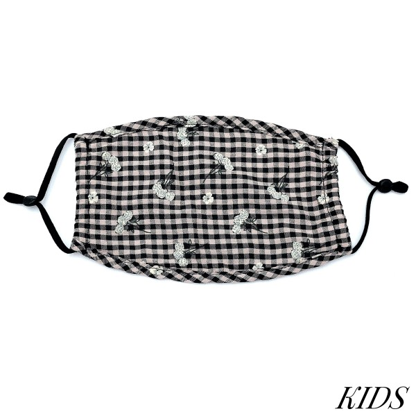 Do everything in Love Brand KIDS Adjustable Floral Checkered Print Fashion Face Mask.  - Non-Medical - Adjustable Ear Loops - Washable & Reusable - Wash After Each Use - Double Layer Fabric - NO Filter  - Blocks against Sunlight / Dust / Etc - One size fits most Kids (5-11)  *** ALL Sales Final Due to CDC Recommendations