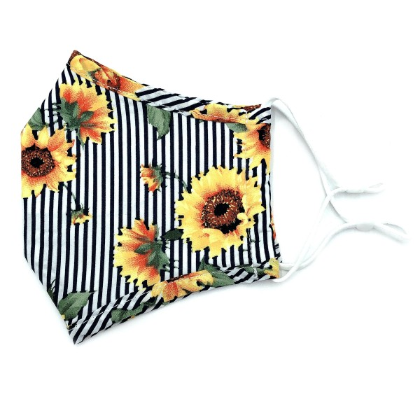 Do everything in Love Brand Adjustable Striped Sunflower Print Fashion Mask with Filter Insert.  - Adjustable Ear Loops - Washable & Reusable - Non-Medical - Filter Insert - Filter Sold Separately*** - Blocks against Sunlight / Dust / Etc - Wash After Each Use - One size fits most Adults