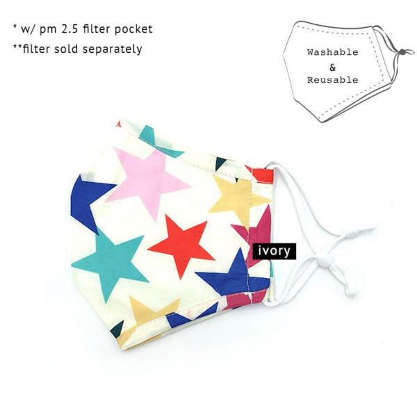 Do everything in Love Brand Adjustable Multicolor Star Print Fashion Mask with Filter Insert.  - Adjustable Ear Loops - Washable & Reusable - Non-Medical - Filter Insert - Filter Sold Separately*** - Blocks against Sunlight / Dust / Etc - Wash After Each Use - One size fits most Adults  *** ALL Sales Final Due to CDC Recommendations