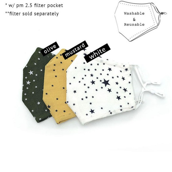 Do everything in Love Brand Adjustable Star Print Fashion Mask with Filter Insert.  - Adjustable Ear Loops - Washable & Reusable - Non-Medical - Filter Insert - Filter Sold Separately*** - Blocks against Sunlight / Dust / Etc - Wash After Each Use - One size fits most Adults  *** ALL Sales Final Due to CDC Recommendations