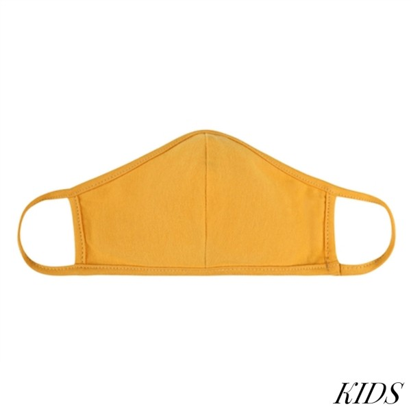 KIDS Reusable Solid T-Shirt Cloth Face Mask with Seam.  - Machine Wash in Cold - Mild Detergent - Lay Flat to Dry - Do Not Bleach - Washable & Reusable  - These Mask have NO Filter - One Size Fits Most KIDS (AGES 5-11 years) - Exterior Material: 95% Polyester / 5% Spandex - Interior Material: Cotton Blend in Ivory or White  ** These Masks Are Not For Professional Use and Not Medically Rated. These Masks Have No Proven Effectiveness Against Any Viruses. *** ALL Sales Final Due to CDC Recommendations