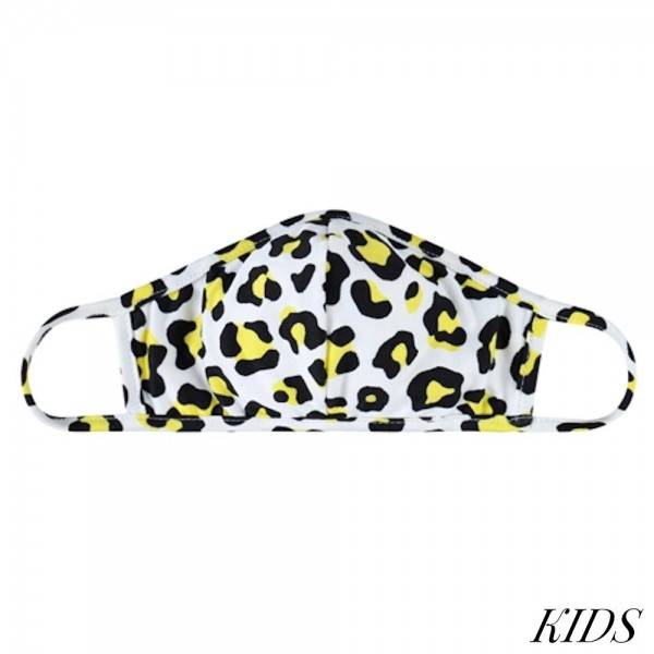 KIDS Reusable Leopard Print T-Shirt Cloth Face Mask with Seam.  - Machine Wash in Cold - Mild Detergent - Lay Flat to Dry - Do Not Bleach - Washable & Reusable - These Mask have NO Filter - One Size Fits Most KIDS (AGES 5-11 years) - Exterior Material: 95% Polyester / 5% Spandex - Interior Material: Cotton Blend in Ivory or White  ** These Masks Are Not For Professional Use and Not Medically Rated. These Masks Have No Proven Effectiveness Against Any Viruses. *** ALL Sales Final Due to CDC Recommendations